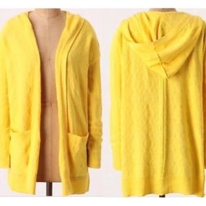 Anthropologie Sparrow canary yellow open cardigan